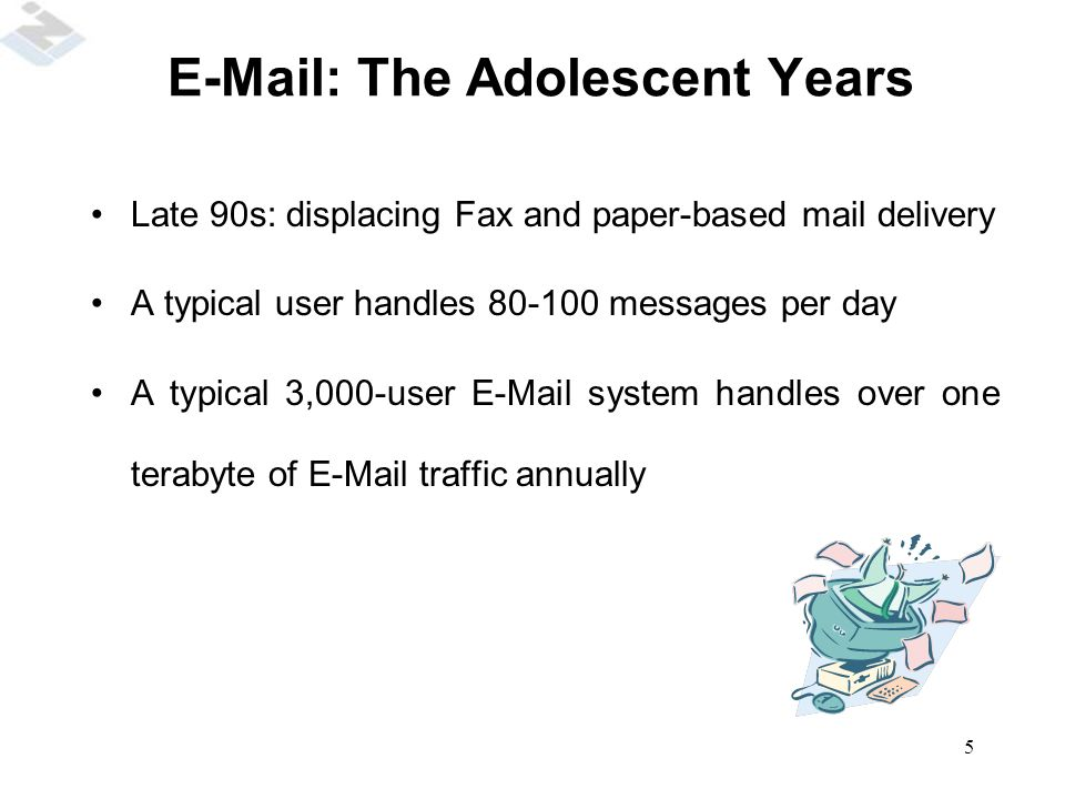 5 E-Mail: The Adolescent Years Late 90s: displacing Fax and paper-based mail delivery A typical user handles 80-100 messages per day A typical 3,000-u