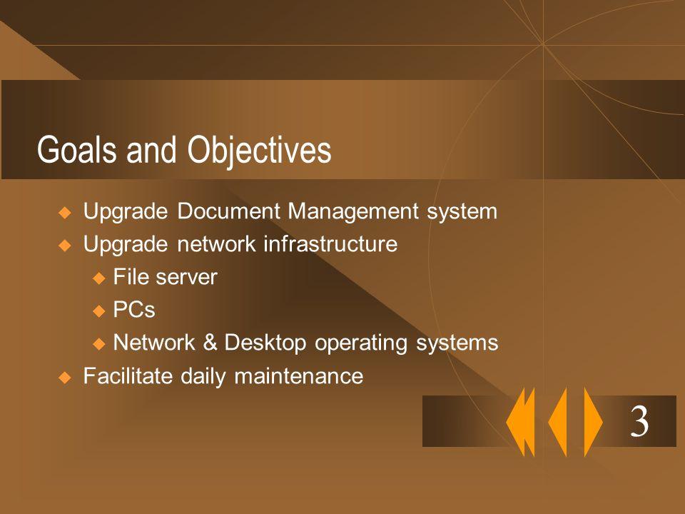 Goals and Objectives Upgrade Document Management system Upgrade network infrastructure u File server u PCs u Network & Desktop operating systems Facil
