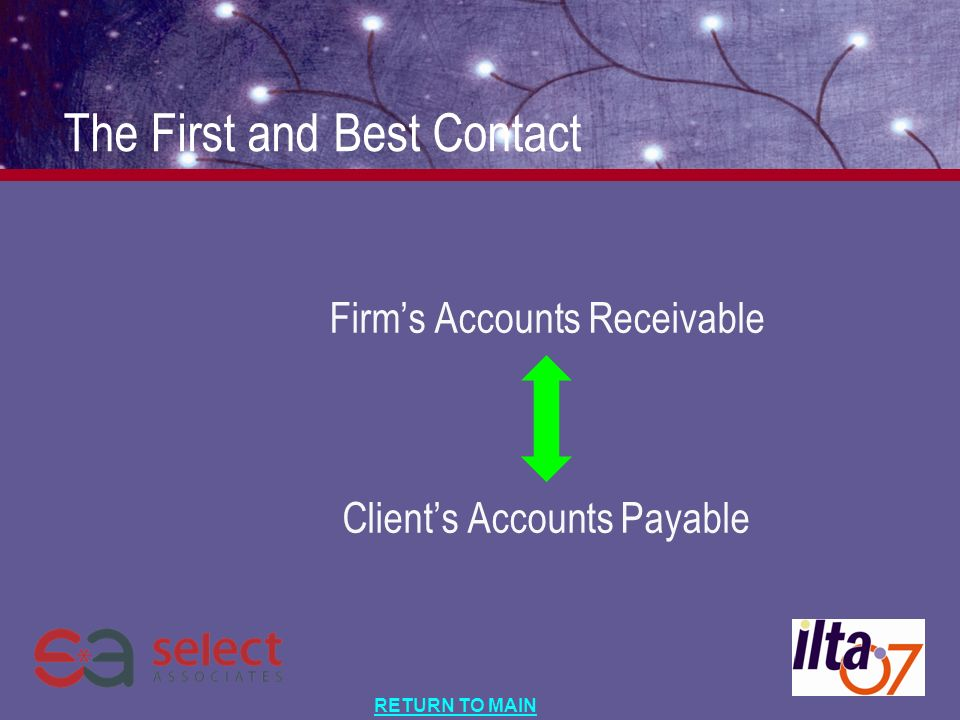 RETURN TO MAIN The First and Best Contact Firms Accounts Receivable Clients Accounts Payable