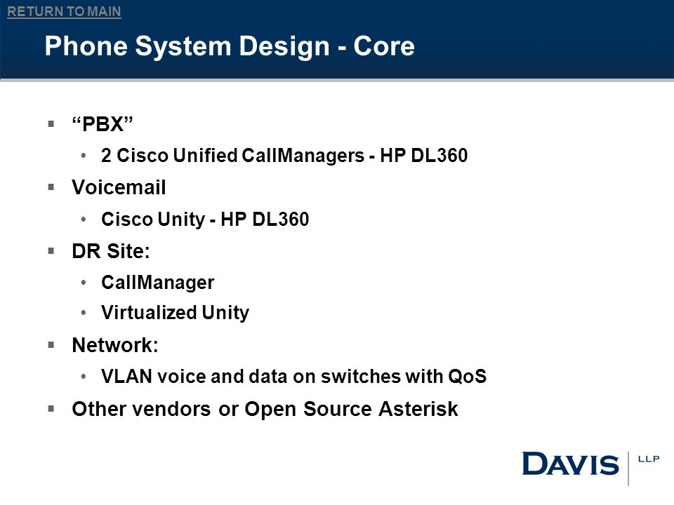 RETURN TO MAIN Phone System Design - Core PBX 2 Cisco Unified CallManagers - HP DL360 Voicemail Cisco Unity - HP DL360 DR Site: CallManager Virtualized Unity Network: VLAN voice and data on switches with QoS Other vendors or Open Source Asterisk