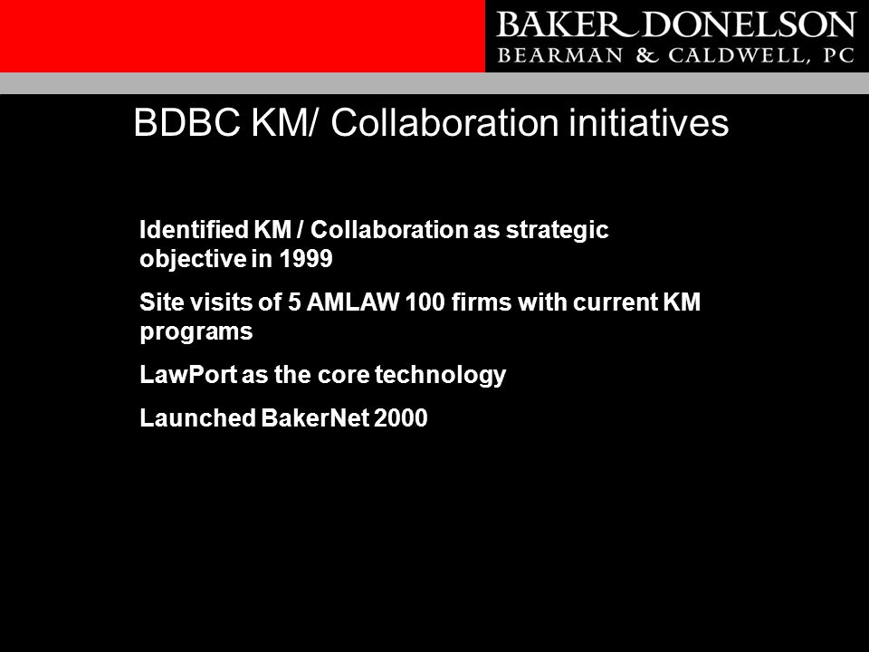 Identified KM / Collaboration as strategic objective in 1999 Site visits of 5 AMLAW 100 firms with current KM programs LawPort as the core technology