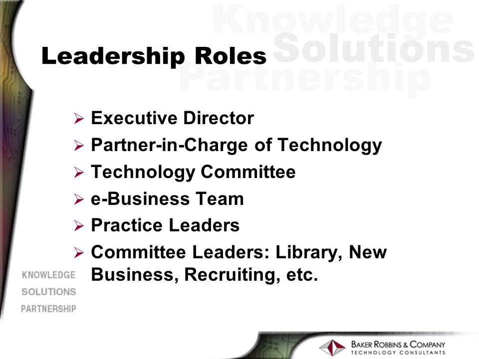 Leadership Roles Ø Executive Director Ø Partner-in-Charge of Technology Ø Technology Committee Ø e-Business Team Ø Practice Leaders Ø Committee Leaders: Library, New Business, Recruiting, etc.