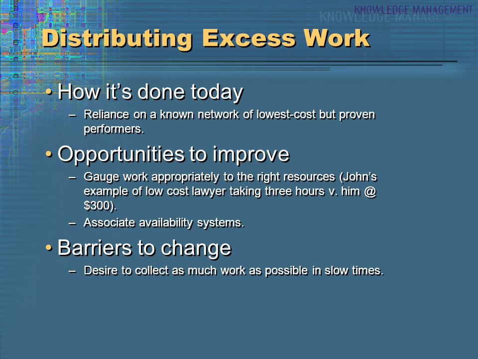 Distributing Excess Work How its done today –Reliance on a known network of lowest-cost but proven performers.