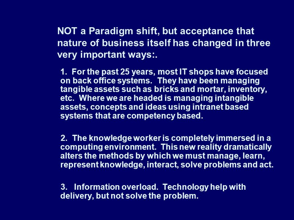 NOT a Paradigm shift, but acceptance that nature of business itself has changed in three very important ways:.