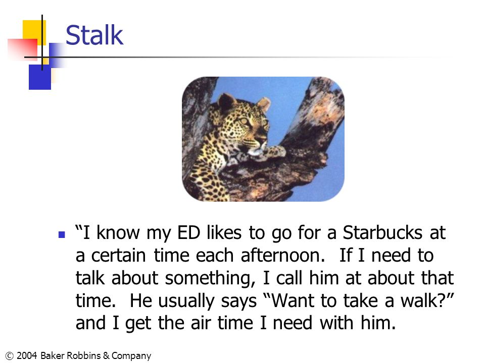 © 2004 Baker Robbins & Company Stalk I know my ED likes to go for a Starbucks at a certain time each afternoon. If I need to talk about something, I c