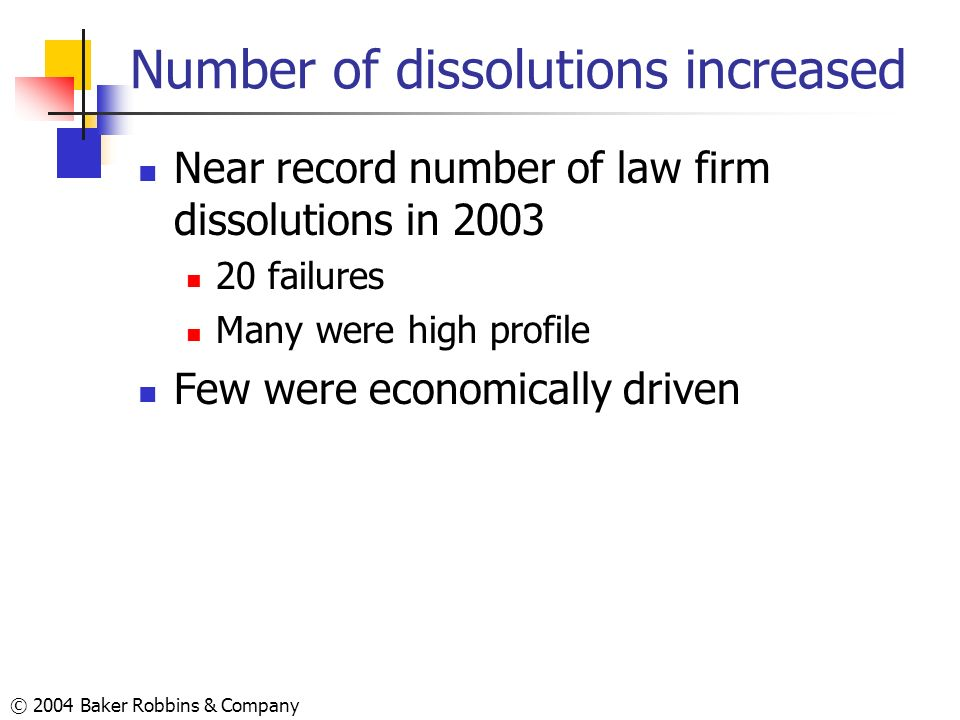 © 2004 Baker Robbins & Company Number of dissolutions increased Near record number of law firm dissolutions in 2003 20 failures Many were high profile
