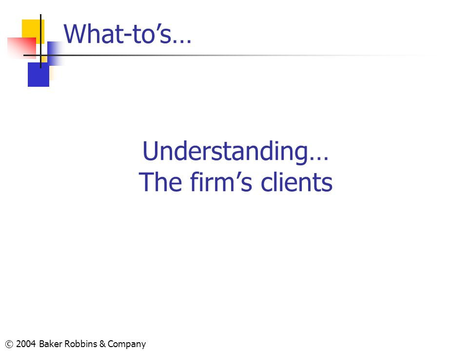© 2004 Baker Robbins & Company Understanding… The firms clients What-tos…