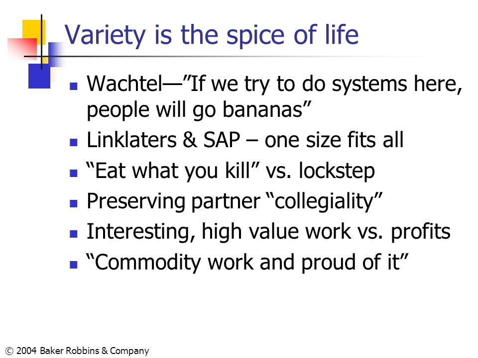 © 2004 Baker Robbins & Company Variety is the spice of life WachtelIf we try to do systems here, people will go bananas Linklaters & SAP – one size fi