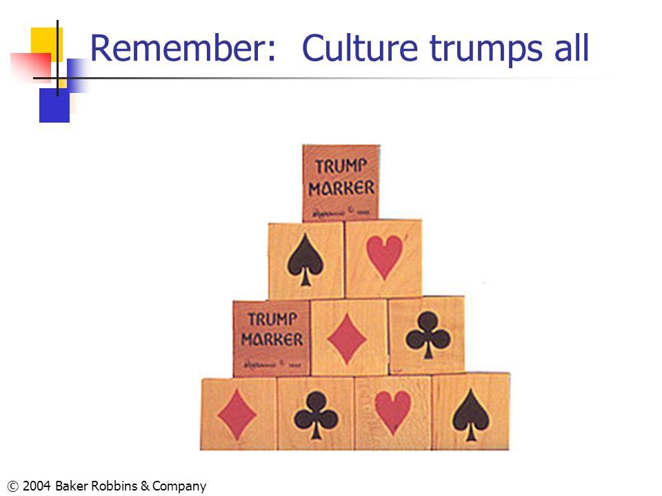 © 2004 Baker Robbins & Company Remember: Culture trumps all