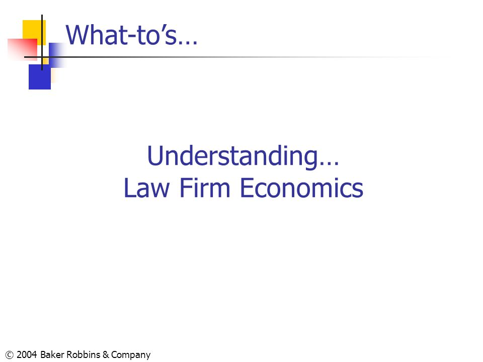 © 2004 Baker Robbins & Company Understanding… Law Firm Economics What-tos…