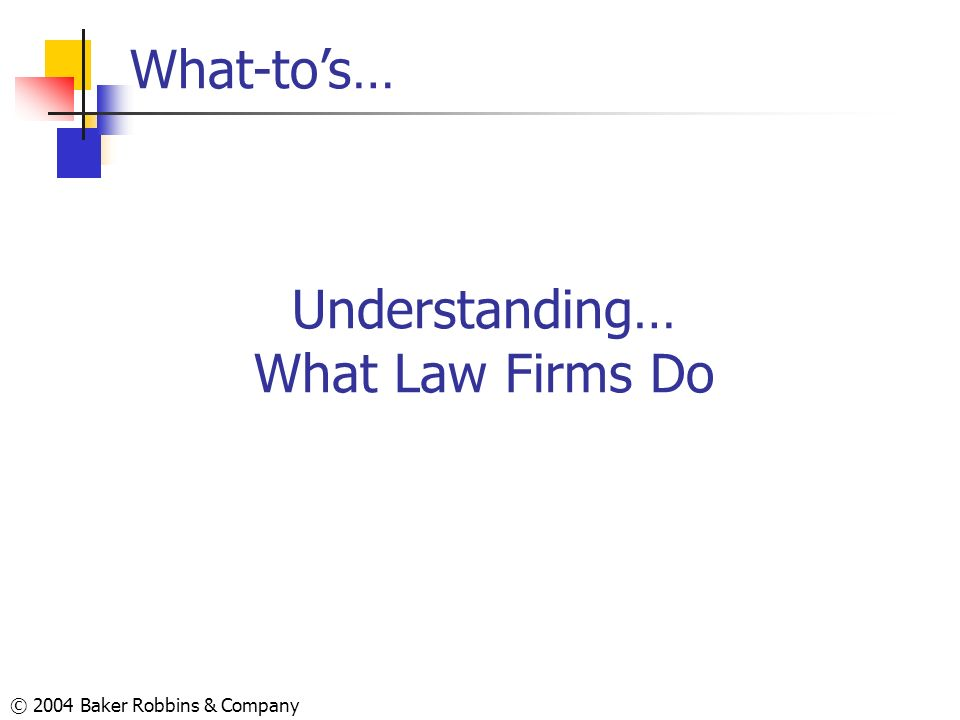 © 2004 Baker Robbins & Company Understanding… What Law Firms Do What-tos…