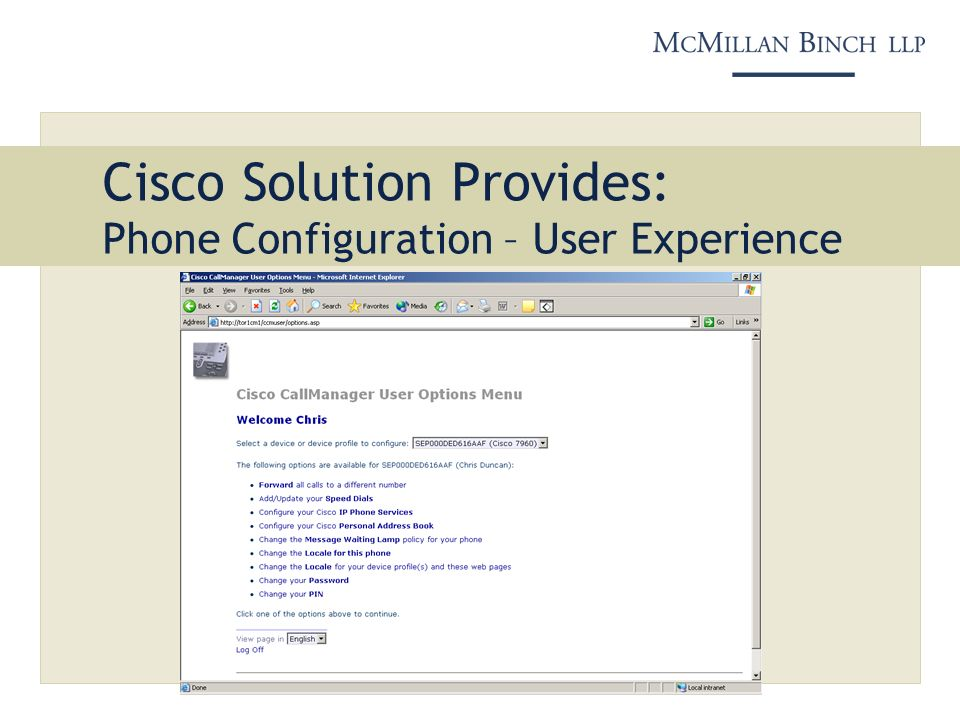 Cisco Solution Provides: Phone Configuration – User Experience