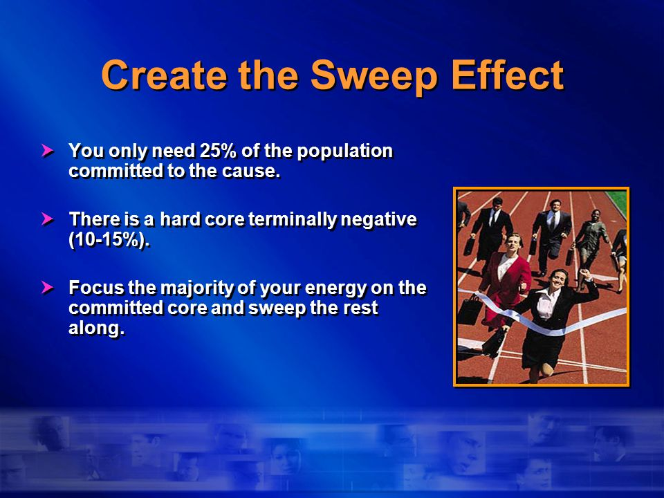 Create the Sweep Effect You only need 25% of the population committed to the cause. There is a hard core terminally negative (10-15%). Focus the major