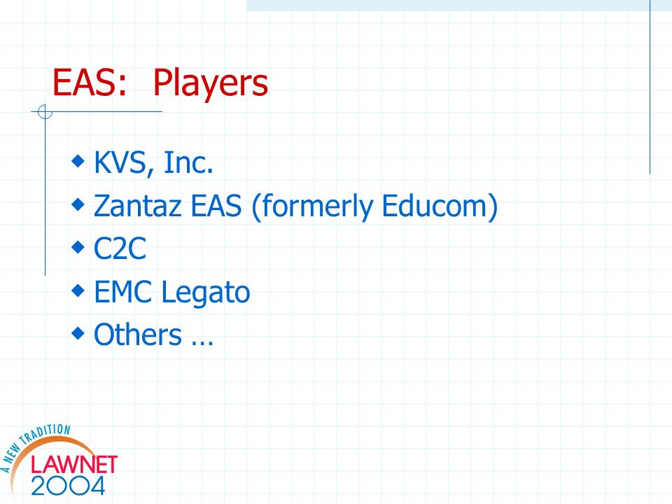 EAS: Players KVS, Inc. Zantaz EAS (formerly Educom) C2C EMC Legato Others …