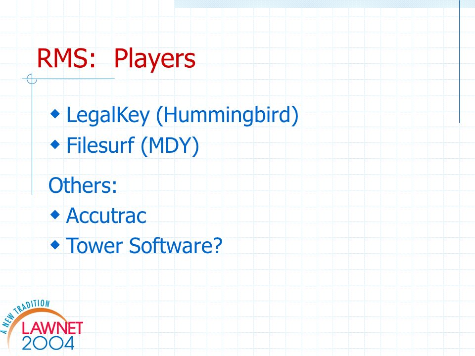 RMS: Players LegalKey (Hummingbird) Filesurf (MDY) Others: Accutrac Tower Software