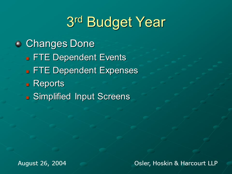 3 rd Budget Year Changes Done Changes Done FTE Dependent Events FTE Dependent Events FTE Dependent Expenses FTE Dependent Expenses Reports Reports Sim