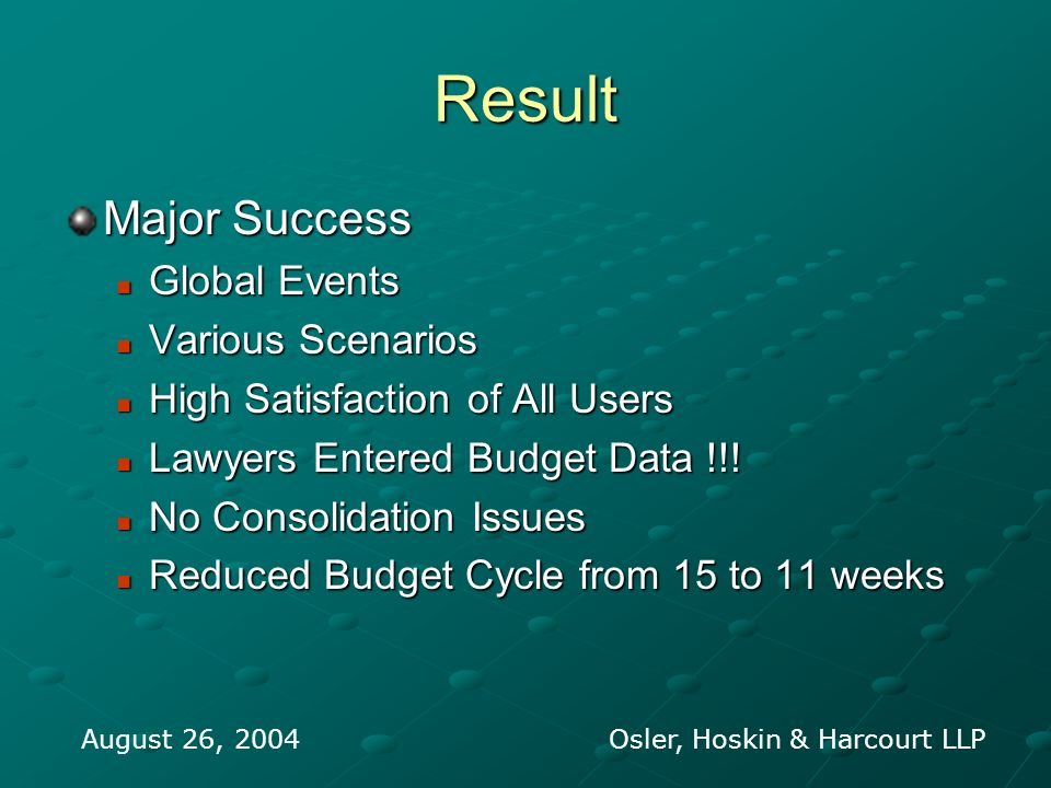 Result Major Success Global Events Global Events Various Scenarios Various Scenarios High Satisfaction of All Users High Satisfaction of All Users Lawyers Entered Budget Data !!.