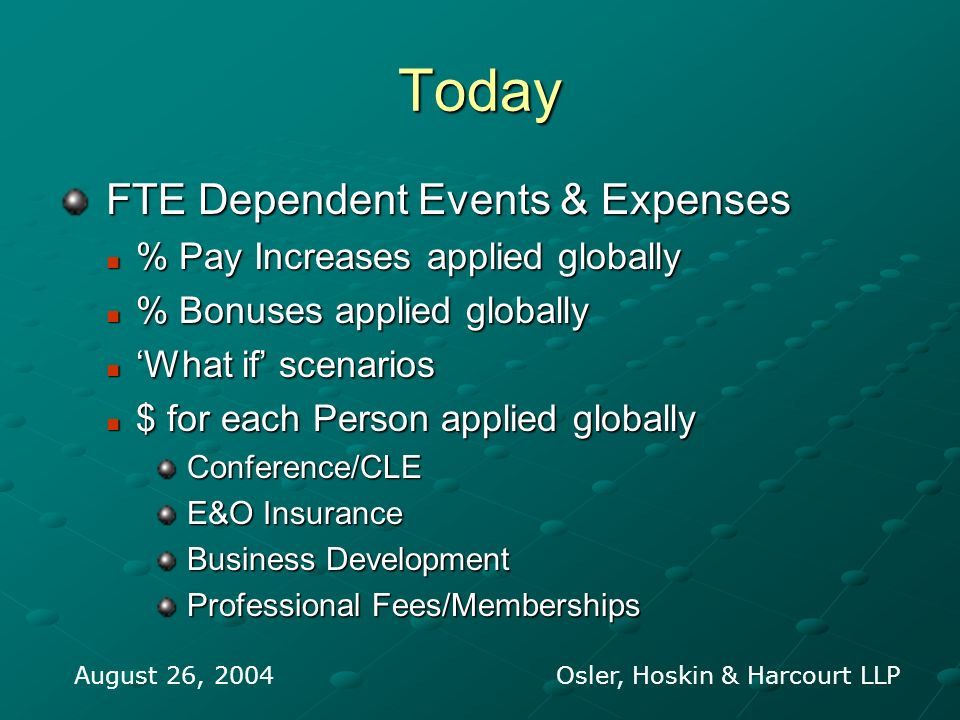 Today FTE Dependent Events & Expenses FTE Dependent Events & Expenses % Pay Increases applied globally % Pay Increases applied globally % Bonuses appl