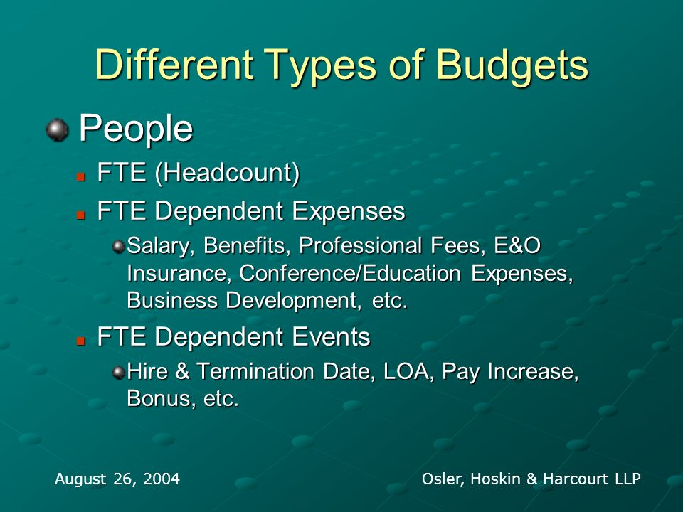 Different Types of Budgets People People FTE (Headcount) FTE (Headcount) FTE Dependent Expenses FTE Dependent Expenses Salary, Benefits, Professional Fees, E&O Insurance, Conference/Education Expenses, Business Development, etc.