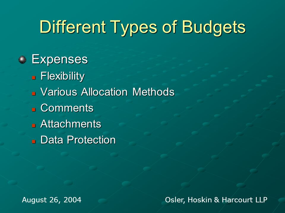 Different Types of Budgets Expenses Expenses Flexibility Flexibility Various Allocation Methods Various Allocation Methods Comments Comments Attachmen
