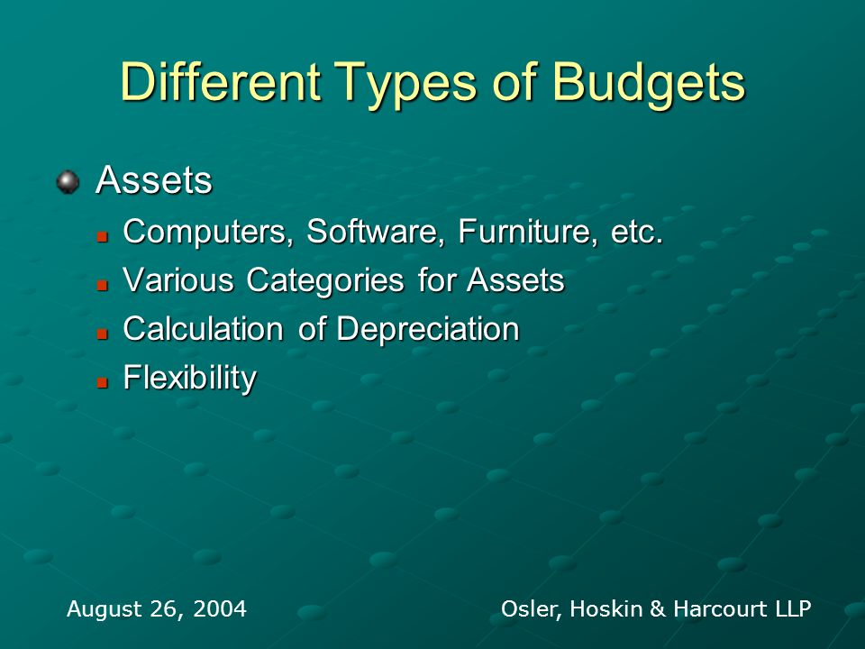 Different Types of Budgets Assets Assets Computers, Software, Furniture, etc. Computers, Software, Furniture, etc. Various Categories for Assets Vario