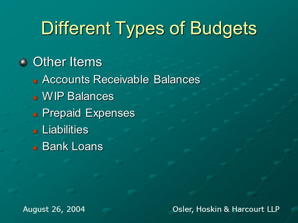 Different Types of Budgets Other Items Other Items Accounts Receivable Balances Accounts Receivable Balances WIP Balances WIP Balances Prepaid Expense