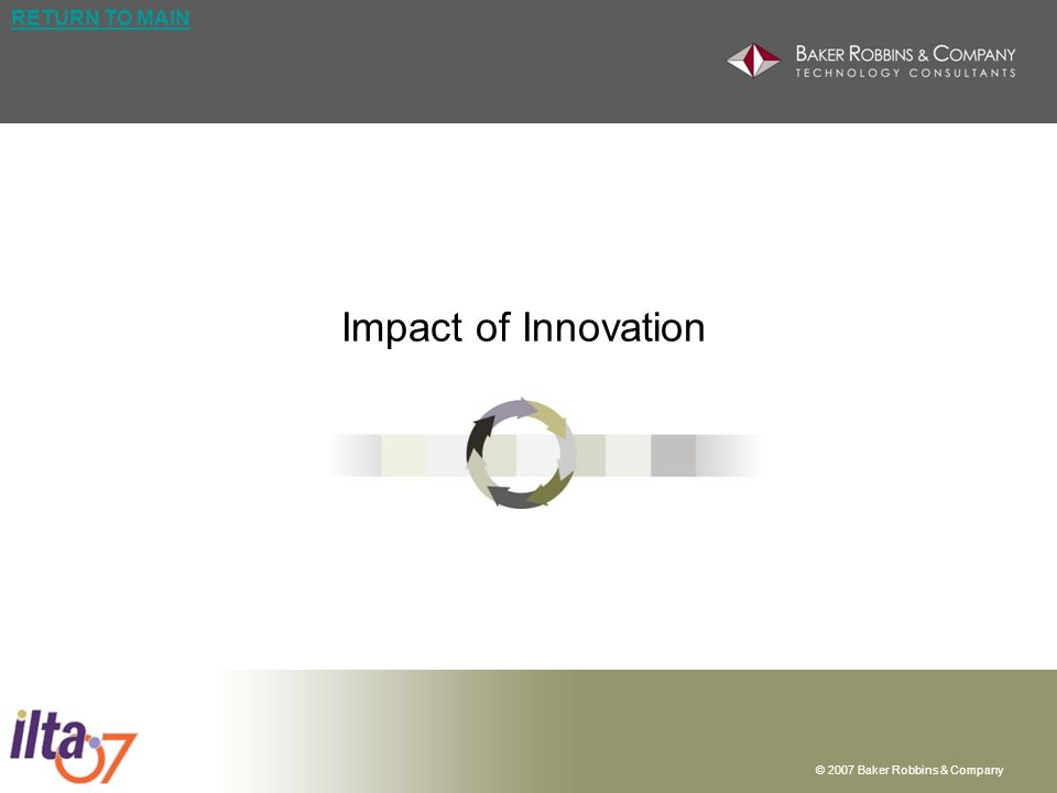 © 2007 Baker Robbins & Company RETURN TO MAIN Impact of Innovation