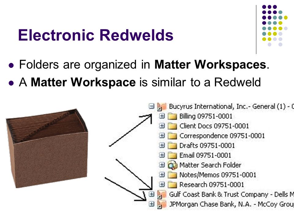 Electronic Redwelds Folders are organized in Matter Workspaces. A Matter Workspace is similar to a Redweld