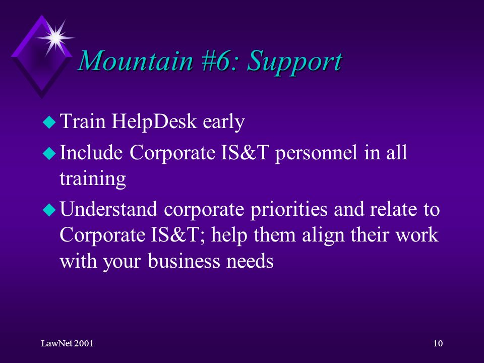 LawNet 200110 Mountain #6: Support u Train HelpDesk early u Include Corporate IS&T personnel in all training u Understand corporate priorities and relate to Corporate IS&T; help them align their work with your business needs