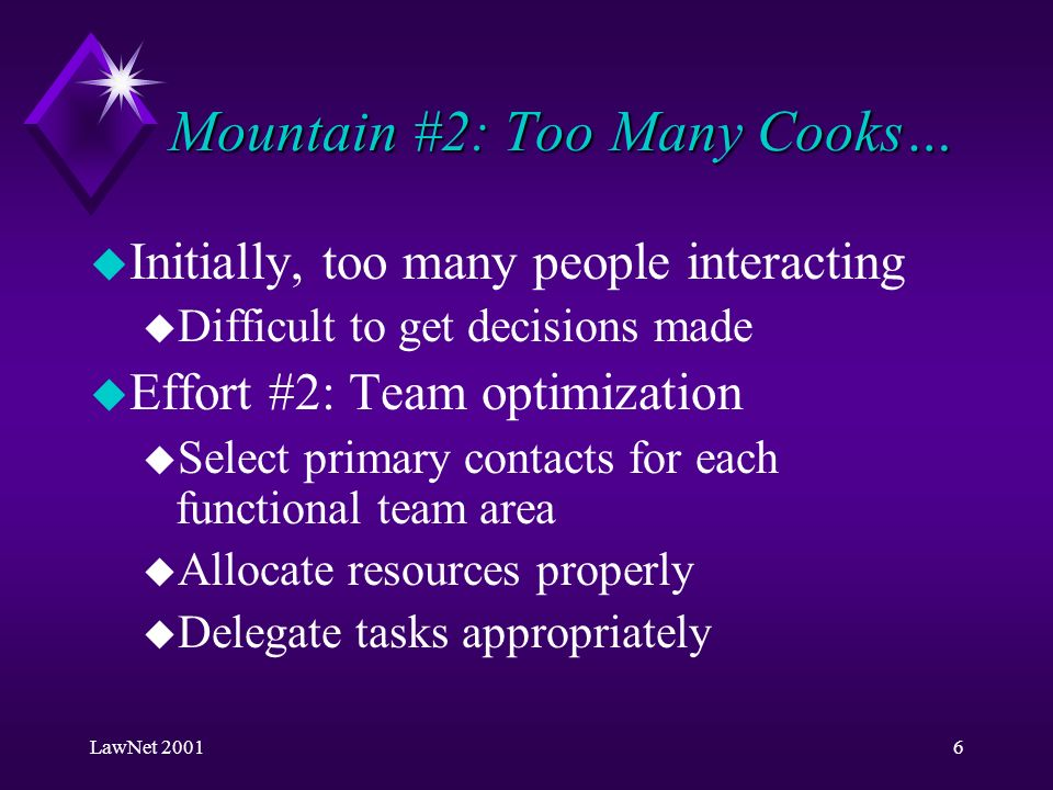 LawNet 20016 Mountain #2: Too Many Cooks… u Initially, too many people interacting u Difficult to get decisions made u Effort #2: Team optimization u