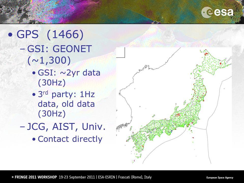 GPS (1466) –GSI: GEONET (~1,300) GSI: ~2yr data (30Hz) 3 rd party: 1Hz data, old data (30Hz) –JCG, AIST, Univ. Contact directly