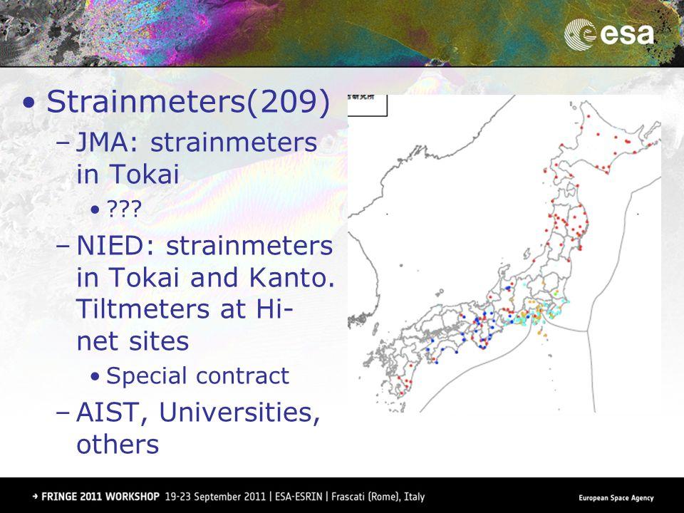 Strainmeters(209) –JMA: strainmeters in Tokai ??? –NIED: strainmeters in Tokai and Kanto. Tiltmeters at Hi- net sites Special contract –AIST, Universi