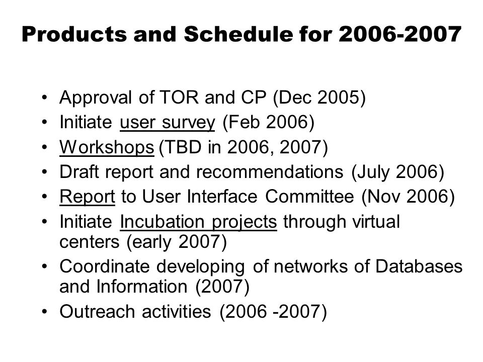 Products and Schedule for 2006-2007 Approval of TOR and CP (Dec 2005) Initiate user survey (Feb 2006) Workshops (TBD in 2006, 2007) Draft report and recommendations (July 2006) Report to User Interface Committee (Nov 2006) Initiate Incubation projects through virtual centers (early 2007) Coordinate developing of networks of Databases and Information (2007) Outreach activities (2006 -2007)