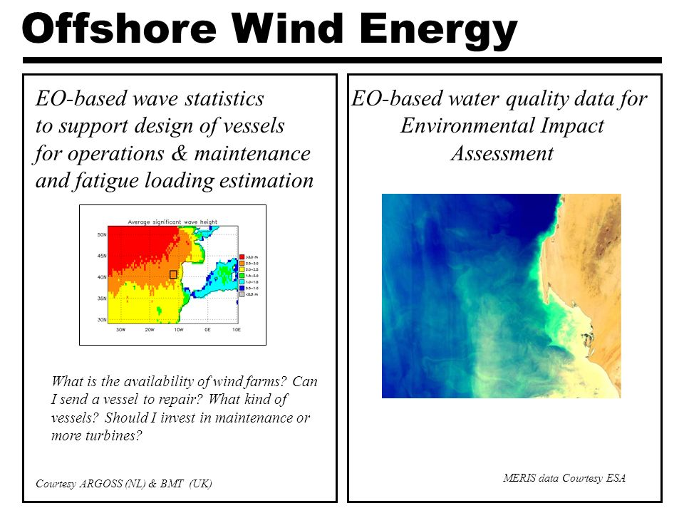 Offshore Wind Energy EO-based wave statistics to support design of vessels for operations & maintenance and fatigue loading estimation EO-based water quality data for Environmental Impact Assessment MERIS data Courtesy ESA Courtesy ARGOSS (NL) & BMT (UK) What is the availability of wind farms.