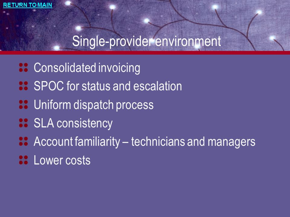 RETURN TO MAIN Single-provider environment Consolidated invoicing SPOC for status and escalation Uniform dispatch process SLA consistency Account fami