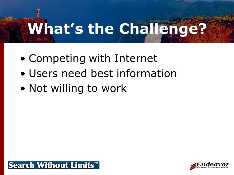 Whats the Challenge? Competing with Internet Users need best information Not willing to work