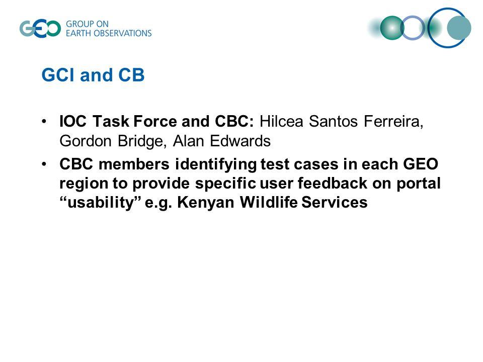 GCI and CB IOC Task Force and CBC: Hilcea Santos Ferreira, Gordon Bridge, Alan Edwards CBC members identifying test cases in each GEO region to provide specific user feedback on portal usability e.g.