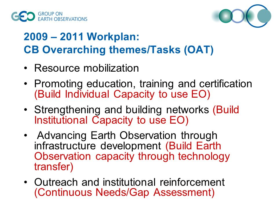 2009 – 2011 Workplan: CB Overarching themes/Tasks (OAT) Resource mobilization Promoting education, training and certification (Build Individual Capacity to use EO) Strengthening and building networks (Build Institutional Capacity to use EO) Advancing Earth Observation through infrastructure development (Build Earth Observation capacity through technology transfer) Outreach and institutional reinforcement (Continuous Needs/Gap Assessment)