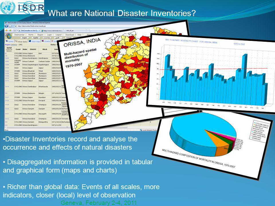 Geneva, February 2-4, 2011 What are National Disaster Inventories.