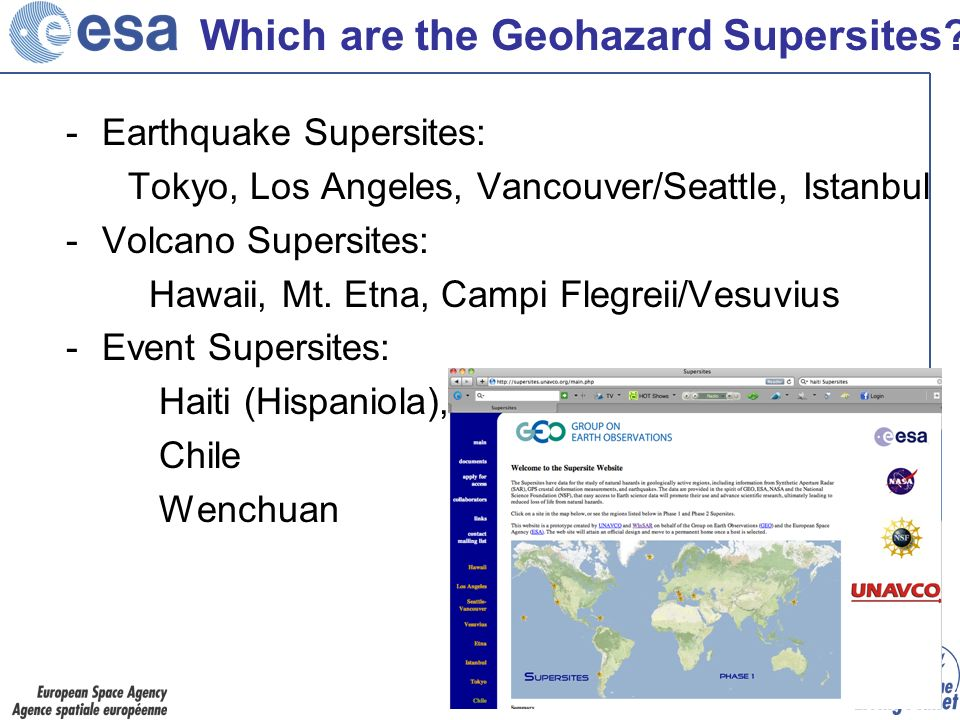 Which are the Geohazard Supersites.