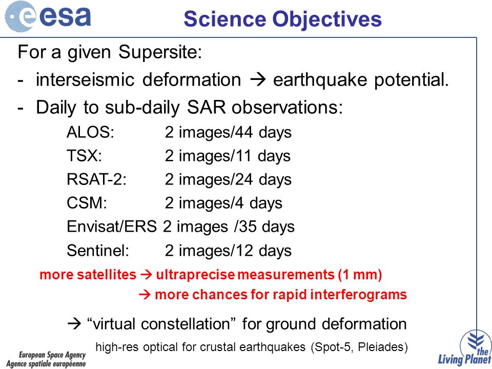 Science Objectives For a given Supersite: -interseismic deformation earthquake potential.