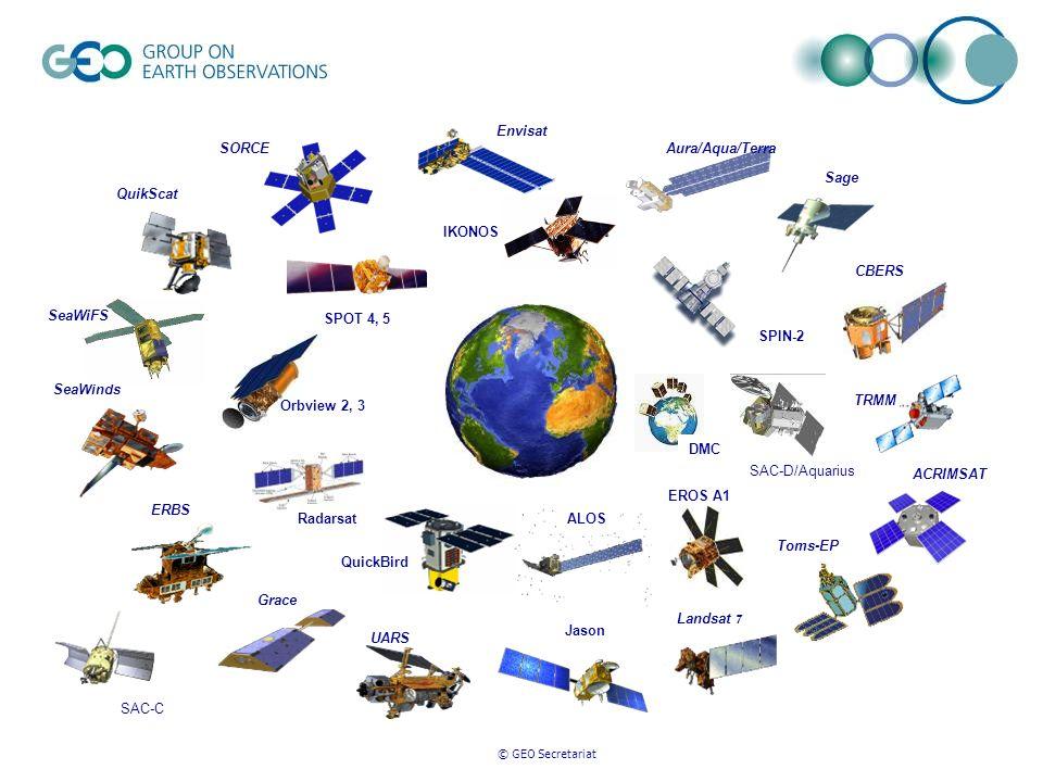 © GEO Secretariat IKONOS QuickBird SPIN-2 SPOT 4, 5 EROS A1 Envisat Aura/Aqua/Terra Grace QuikScat Sage SeaWinds TRMM Toms-EP UARS Landsat 7 SORCE ACR