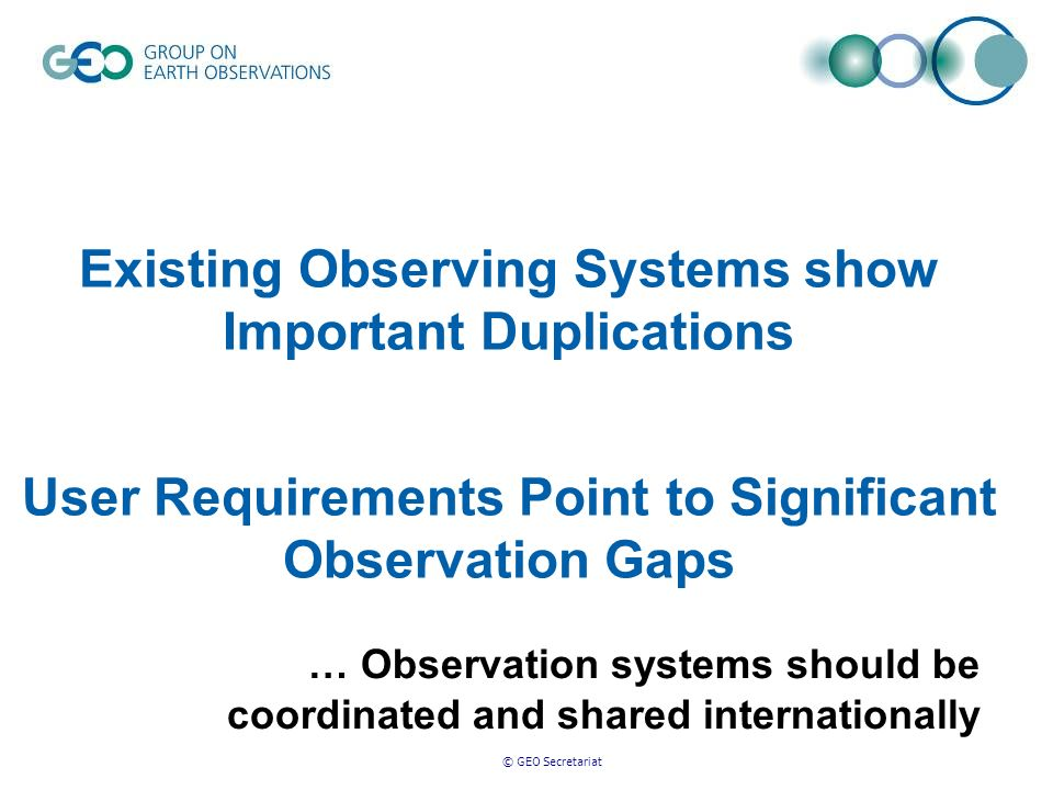 © GEO Secretariat Existing Observing Systems show Important Duplications User Requirements Point to Significant Observation Gaps … Observation systems should be coordinated and shared internationally