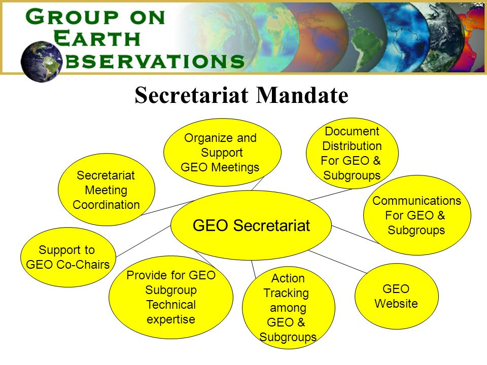 Secretariat Mandate GEO Secretariat Secretariat Meeting Coordination Provide for GEO Subgroup Technical expertise Action Tracking among GEO & Subgroups GEO Website Communications For GEO & Subgroups Document Distribution For GEO & Subgroups Organize and Support GEO Meetings Support to GEO Co-Chairs