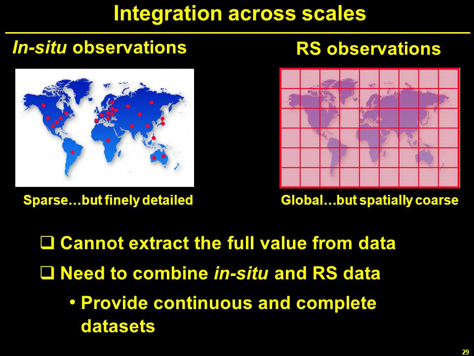 29 Integration across scales In-situ observations RS observations Sparse…but finely detailedGlobal…but spatially coarse Cannot extract the full value
