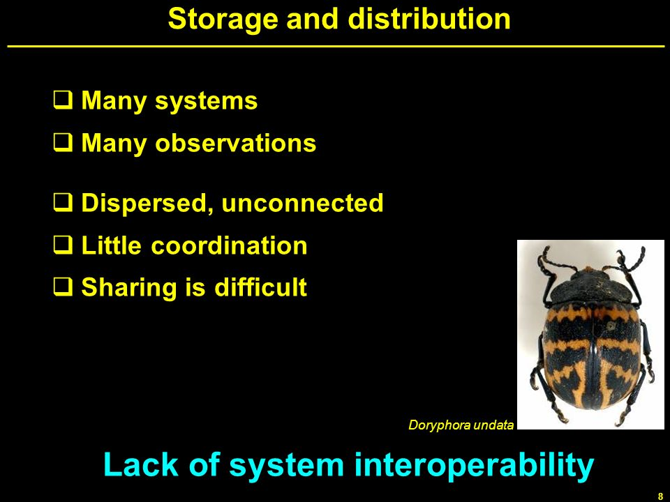 8 Storage and distribution Many systems Many observations Dispersed, unconnected Little coordination Sharing is difficult Lack of system interoperabil