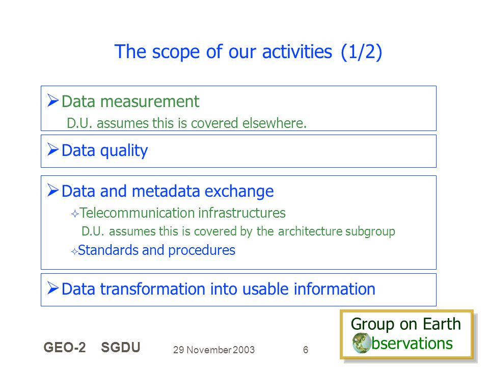 Group on Earth bservations Group on Earth bservations 29 November 2003 GEO-2 SGDU 6 The scope of our activities (1/2) Data measurement D.U.