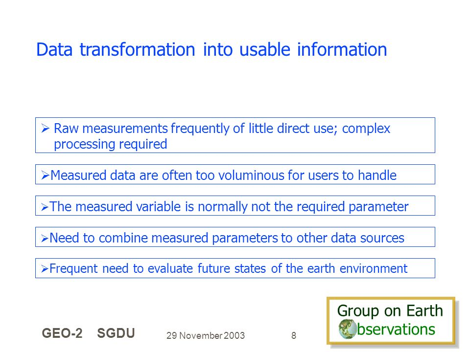 Group on Earth bservations Group on Earth bservations 29 November 2003 GEO-2 SGDU 8 Data transformation into usable information Measured data are often too voluminous for users to handle The measured variable is normally not the required parameter Raw measurements frequently of little direct use; complex processing required Need to combine measured parameters to other data sources Frequent need to evaluate future states of the earth environment