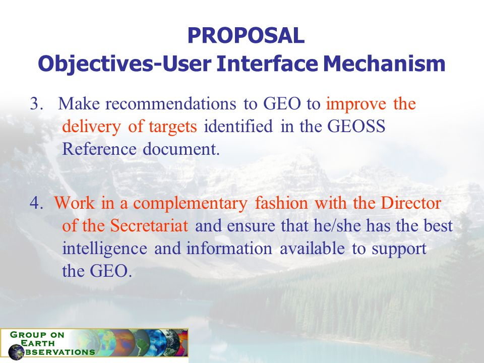 PROPOSAL Objectives-User Interface Mechanism 3.