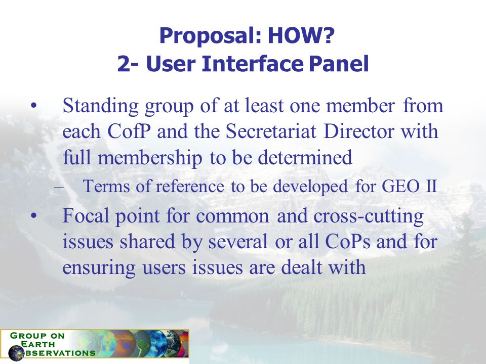 Proposal: HOW? 2- User Interface Panel Standing group of at least one member from each CofP and the Secretariat Director with full membership to be de
